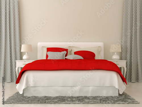 Photo  Bedroom with red and grey decorations