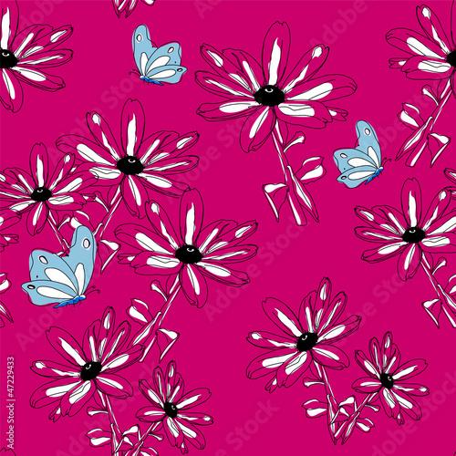 Keuken foto achterwand Abstract bloemen Seamless Flower Pattern