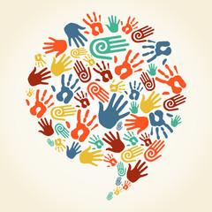 Global diversity hand prints speech bubble