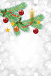 christmas background with decorated fir-tree branch