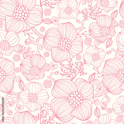 Cotton fabric Vector red line art flowers elegant seamless pattern background
