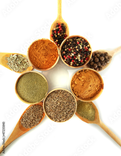 Foto op Aluminium Kruiden 2 wooden bowls and spoons with spices isolated on white