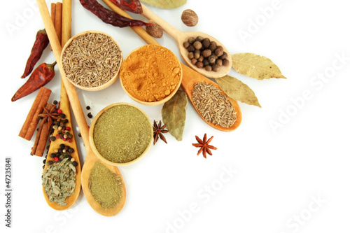 wooden bowls and spoons with spices, isolated on white