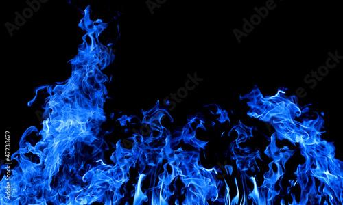 Fotobehang Vuur large dark blue fire on black