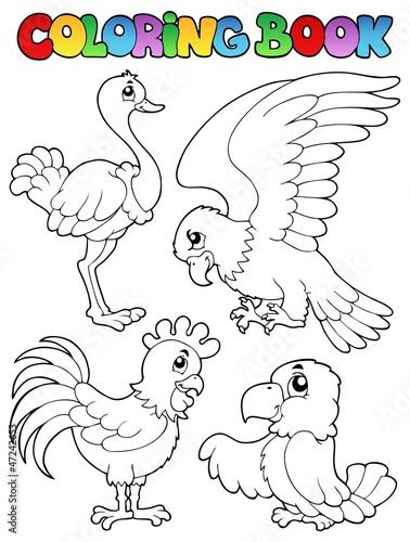 Spoed Foto op Canvas Doe het zelf Coloring book bird image 1