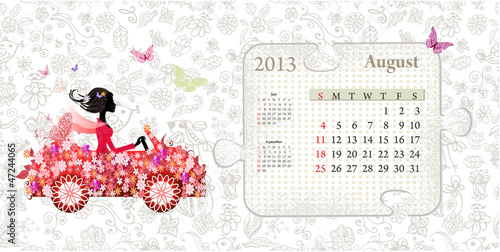Poster Floral woman Calendar for 2013, august