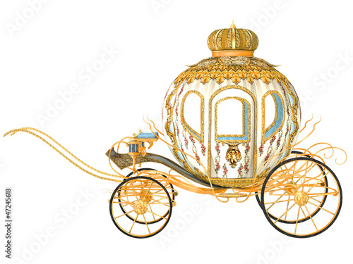 Fotografia fairy tale carriage, isolated on the white background