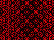 3d Ornamental Red Detail On Black Background- Abstract Concept