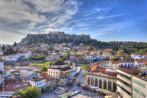 Printed kitchen splashbacks Athens Monastiraki square and Acropolis in Athens,Greece