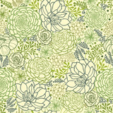 Vector Green Succulent Plants Seamless Pattern Background