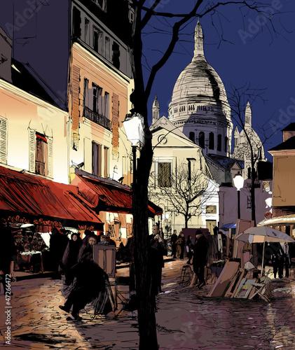 Foto auf AluDibond Gezeichnet Straßenkaffee Montmartre in winter