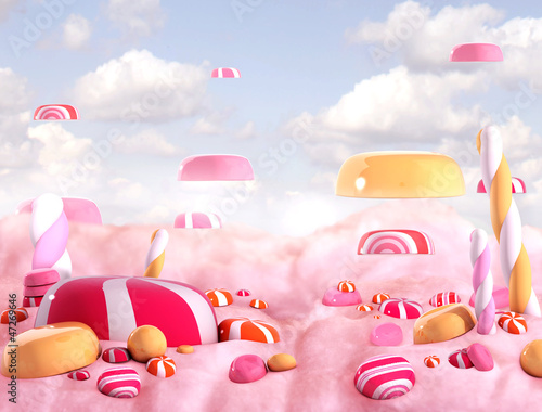 Candy land bonbons, 3d render