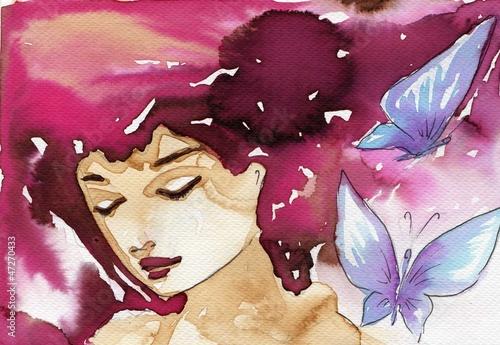 Door stickers Painterly Inspiration butterflies,