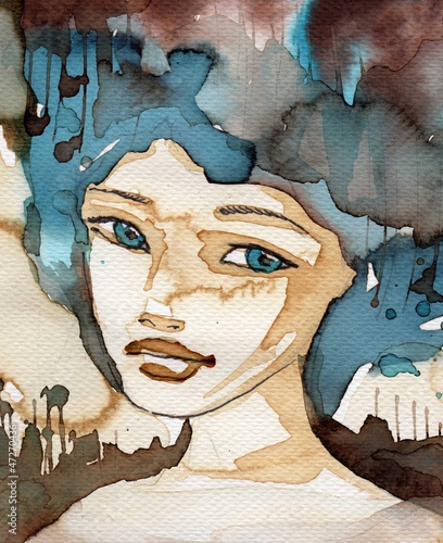 Poster Inspiration painterly blue woman