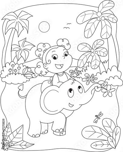 Koloryt ilustracja dziewczyna jedzie słonia
