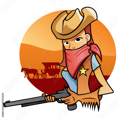 Deurstickers Wild West Portrait od Cowgirl