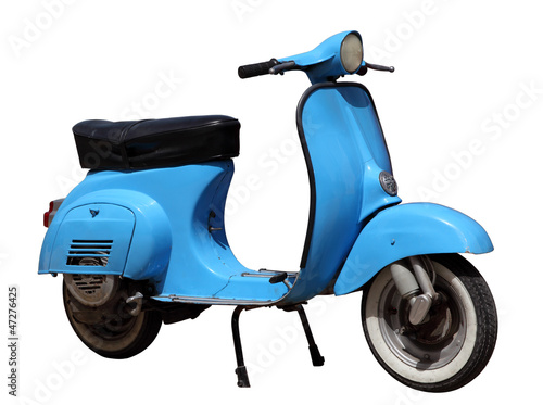 Spoed Foto op Canvas Scooter Blue vintage scooter isolated over white background