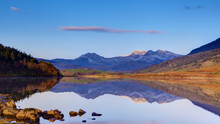 Lake At Capel Curig With Snowd...