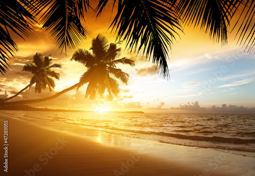 Foto-Rollo - sunset on the beach of caribbean sea (von Iakov Kalinin)