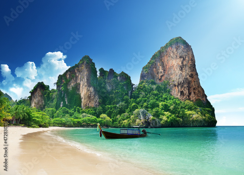 Poster Tropical plage Railay beach in Krabi Thailand