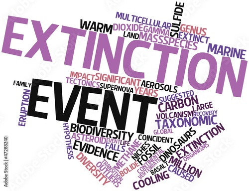 Fotografie, Obraz  Word cloud for Extinction event