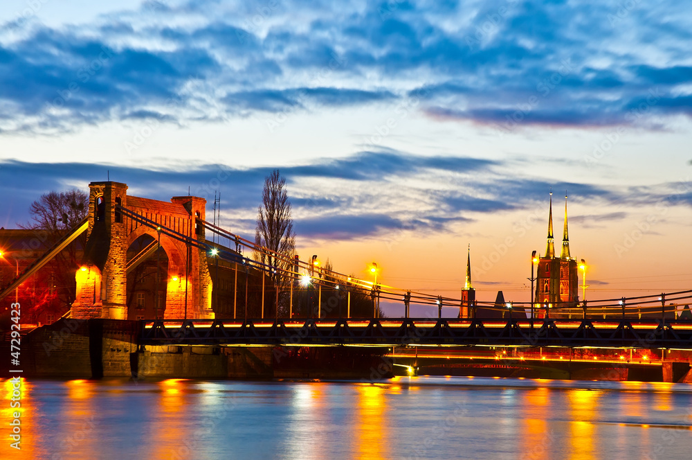 Fototapeta Wroclaw at sunset