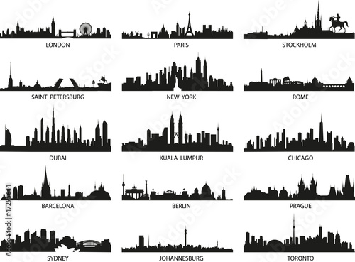 Foto  vector silhouettes of the city skylines