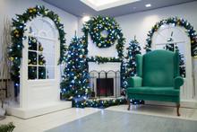 Christmas Living Room And Santa's Chair