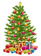 Beautiful decorated christmas tree with gifts.