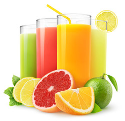 Fototapeta Owoce Isolated drinks. Glasses of fresh citrus juices (orange, grapefruit, lemon, lime) and cut fruits isolated on white background