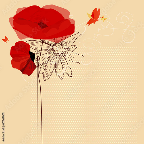 Tuinposter Abstract bloemen Floral invitation, poppies and butterfly vector