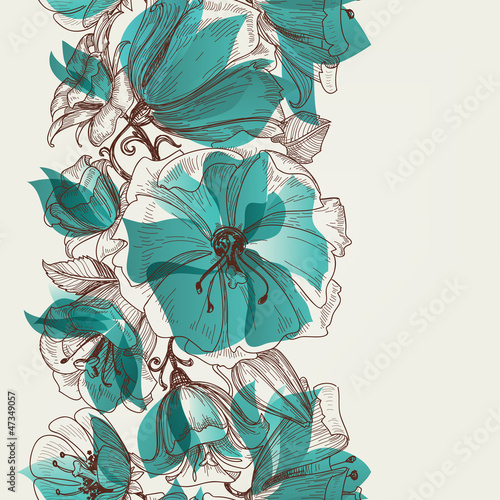 Deurstickers Abstract bloemen Flower seamless pattern vector