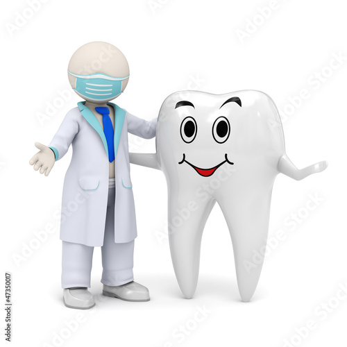 3d dentist with a smiling tooth icon #47350017