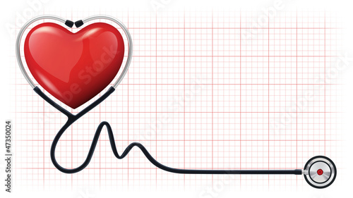 3d heart beat cardiogram stethoscope vector template #47350024