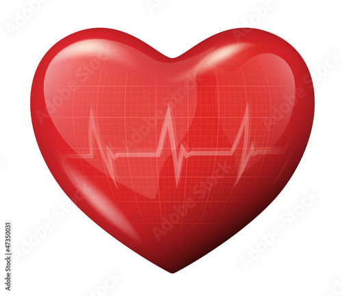 3d vector heart with cardiogram reflection icon #47350031