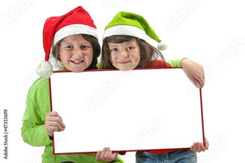 Niñas felicitando la Navidad Canvas Print
