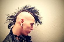 Punk With Mohawk Over White