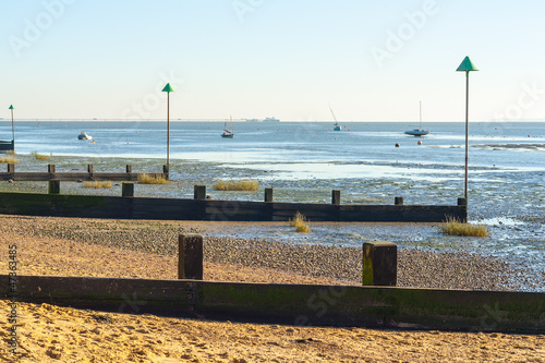 low tide at Leigh on sea Wallpaper Mural