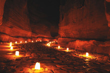 The Siq In Petra During Night Walk