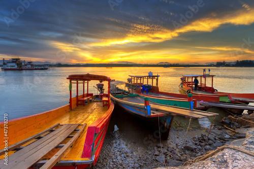 Fototapety, obrazy: Sunrise at the river in Koh Kho Khao, Thailand