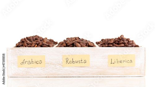 Deurstickers koffiebar Coffee beans in wooden box isolated on white