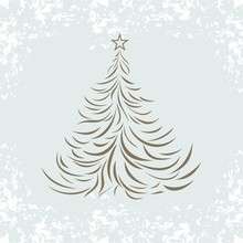 Vintage Background With Christmas Tree