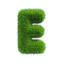 Grass Letter E Isolated On Whi...