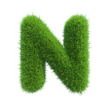 Grass Letter N Isolated On Whi...