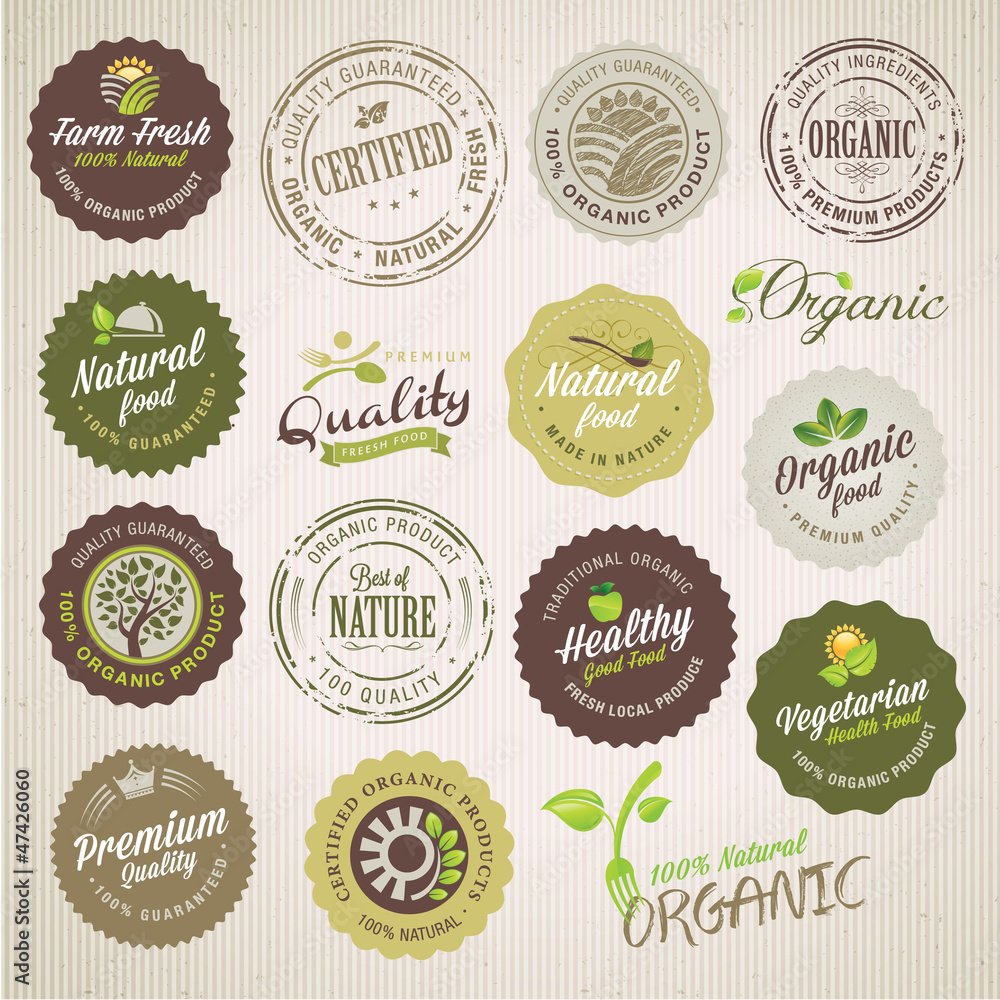 Fototapety, obrazy: Organic food labels and elements