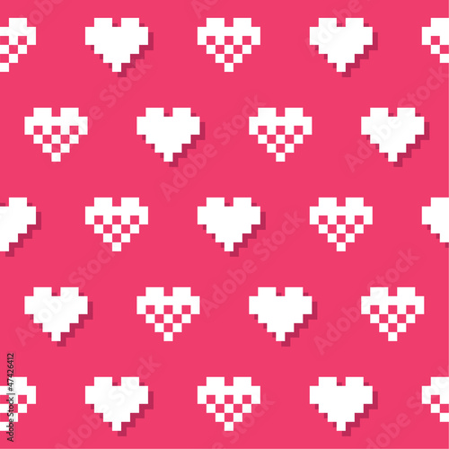 Fotobehang Pixel Heart pink seamless background, pattern - Valentines Day