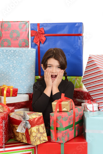 Fotografie, Obraz  Child surprised with lots of christmas gifts