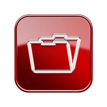 Folder Icon Glossy Red, Isolated On White Background