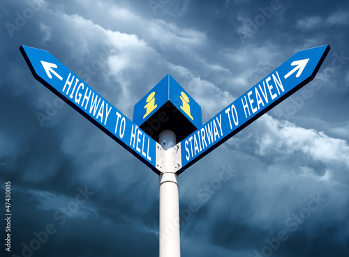 фотография Hell and heaven road signs