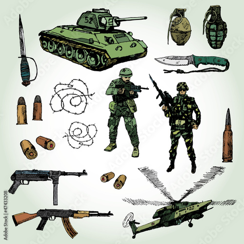 Poster Militaire Some Military Things Colorful Hand Drawn